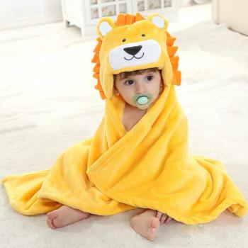 """Детское полотенце плед с капюшоном из велсофта """"Лев"""". Размер: 102*76 см включая капюшон"""