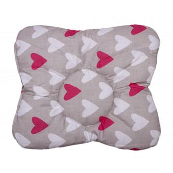 Детская ортопедическая подушка Сердечка Серая 32*34 см
