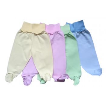 Байковые цветные однотонные ползунки для новорожденных 56 размера