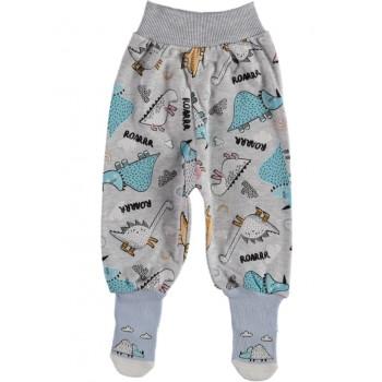 Ползунки с носочками ТМ Kardelya Дино Серые 62 68 74 размеры Интерлок для детей до года