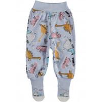Ползунки с носочками ТМ Kardelya Дино Голубые 68 74 размер Интерлок для детей до года