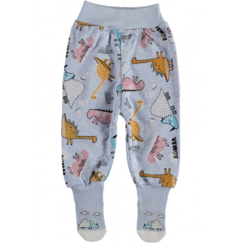 Ползунки с носочками ТМ Kardelya Дино Голубые 62 68 74 размеры Интерлок для детей до года