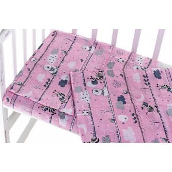 Комплект постельного белья в детскую кроватку новорожденной девочке Зебра