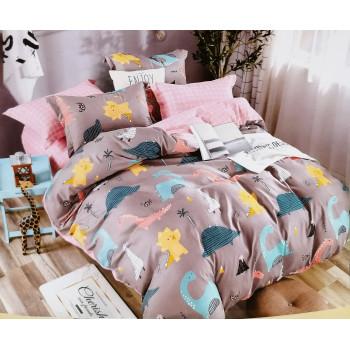 Детское постельное белье с динозаврами, фланель, полуторка