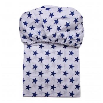 Простынь на резинке Синие звездочки на белом фоне 120*60 см Бязь
