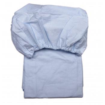 Простынь на резинке Голубая 120*60 см Бязь