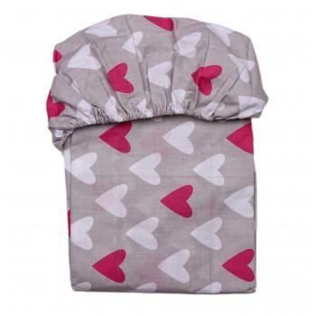 Простынь на резинке Сердечка Серая 120*60 см Бязь