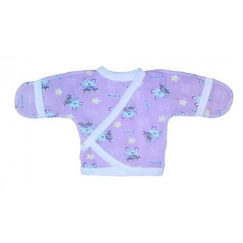 Детская байковая распашонка фиолетовая 50  размер для новорожденных девочек