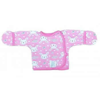 Теплая распашонка 56 62 размера с наружными швами розовая байка