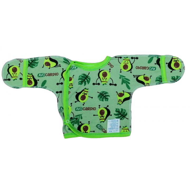 Байковая зеленая распашонка на кнопках для новорожденных