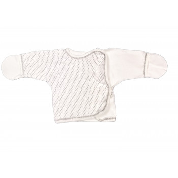 Распашонка молочная унисекс в роддом для новорожденных (интерлок) Горошик