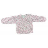 Нарядная распашонка в цветочек для девочек (56 размер, интерлок)