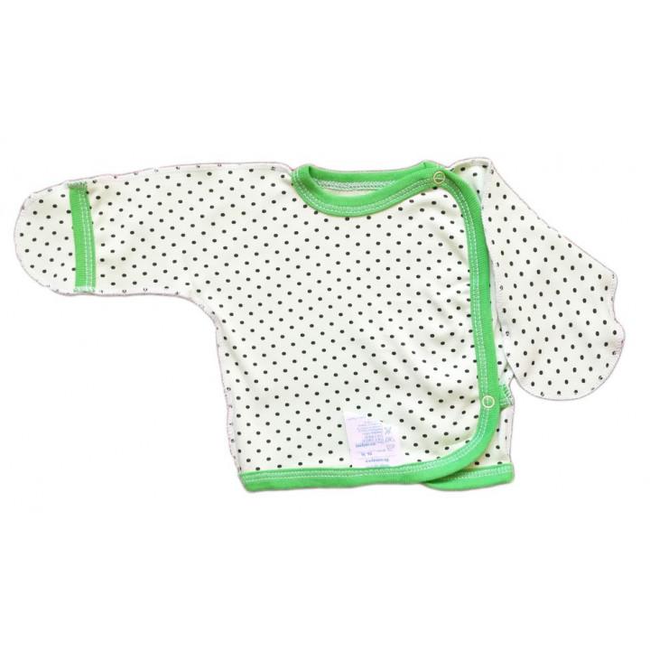 Тонкая с интерлока распашонка салатового цвета в точку для новорожденных