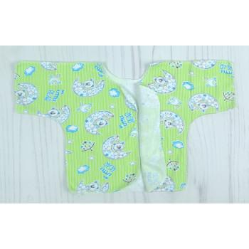 """Байковая простая салатовая распашонка с короткими рукавами """"Little bear"""" для новорожденных"""