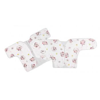 Простые ситцевые распашонки в роддом 56 размера для новорожденных Слоник в ванне