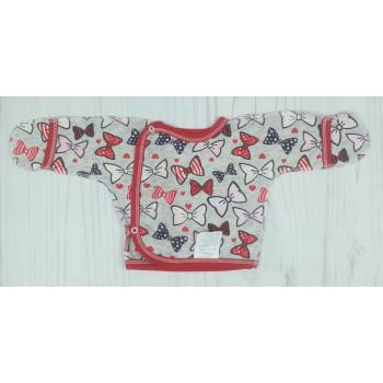"""Тонкая (ткань кулир) распашонка 56 62 размера """"Бантик"""" новорожденной девочке"""