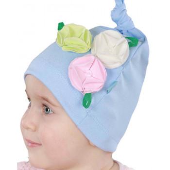 Тонкая голубая шапочка на девочку 1-2 года