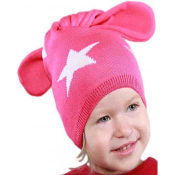 Весенняя (50% шерсти 50% акрила) шапочка на девочку 1-2 года