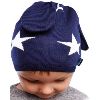 Весенняя (50% шерсти, 50% акрил) шапочка на мальчика 1-2 года