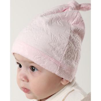 Демисезонная розовая шапочка на девочку от 1 до 3 лет