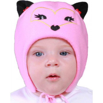 Теплая шапочка на завязках для девочек, 46 48 50 см обхват