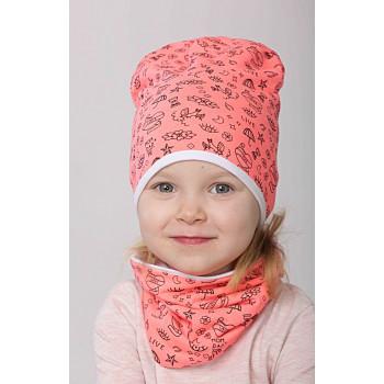 Весенняя тонкая шапочка с хомутом для девочек 48-50 и 50-52 см обхват
