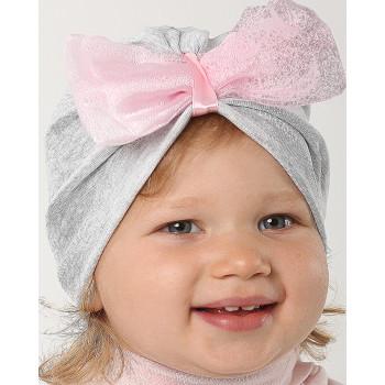 Тонкая шапочка серая с бантом на девочку 48-50 см обхват