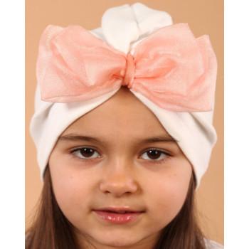 Тонкая шапочка белая с бантом на девочку 48-50 см обхват