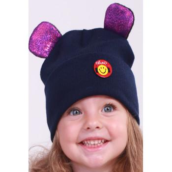 Демисезонная шапочка с ушками 48-50 и 50-52 см обхват для девочек