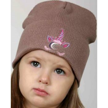 Демисезонная детская коричневая шапка 48-50 см обхват