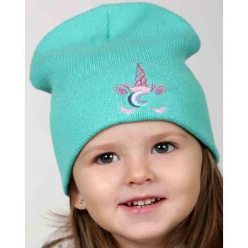 Весенняя детская мятная шапка 48-50 см обхват