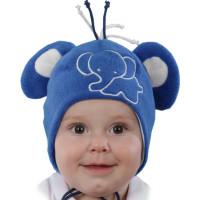 Весенняя шапочка на завязках и с ушками для мальчиков 1-12 месяцев