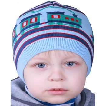 Весенняя шапочка шерстяная для мальчиков 50-52 см обхват