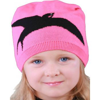 Весенняя розовая шапочка 52-54 см обхват на девочку 4-5-6 лет