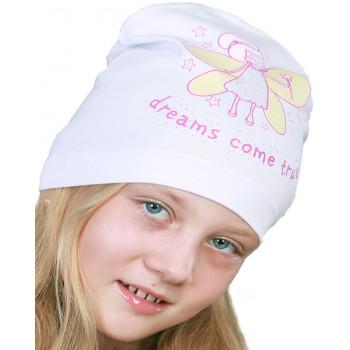 Тонкая белая шапочка 50-52 см обхват на девочку 3-4 года