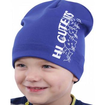 Тонкая синяя шапочка 48-50 и 50-52 см обхват для мальчика