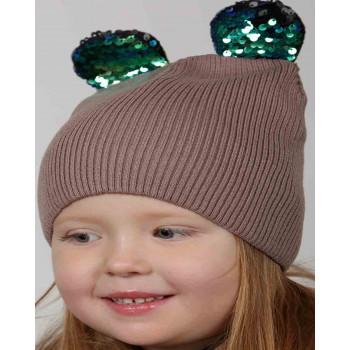 Вязанная шапочка 52-54 см обхват шерстяная на девочку 4 5 6 лет