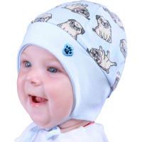 Весенняя шапочка с завязками на мальчика 1-3 месяца