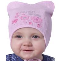 Розовая шапочка на теплую весну для девочки 1 до 12 месяцев
