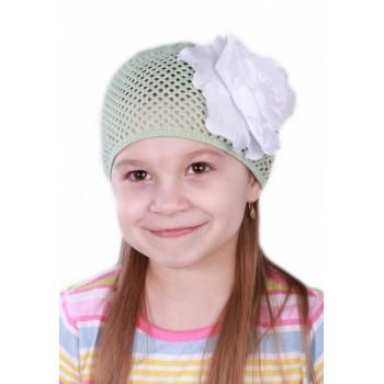 Салатовая шапочка сеточка с цветочком Лилия 54-56 размер для девочек