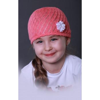 Розовая шапочка-сеточка с цветочком 52-54 размер для девочек