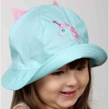 Голубая панама Единорог с розовыми ушками Обхват 46 48 50 52 см для девочек