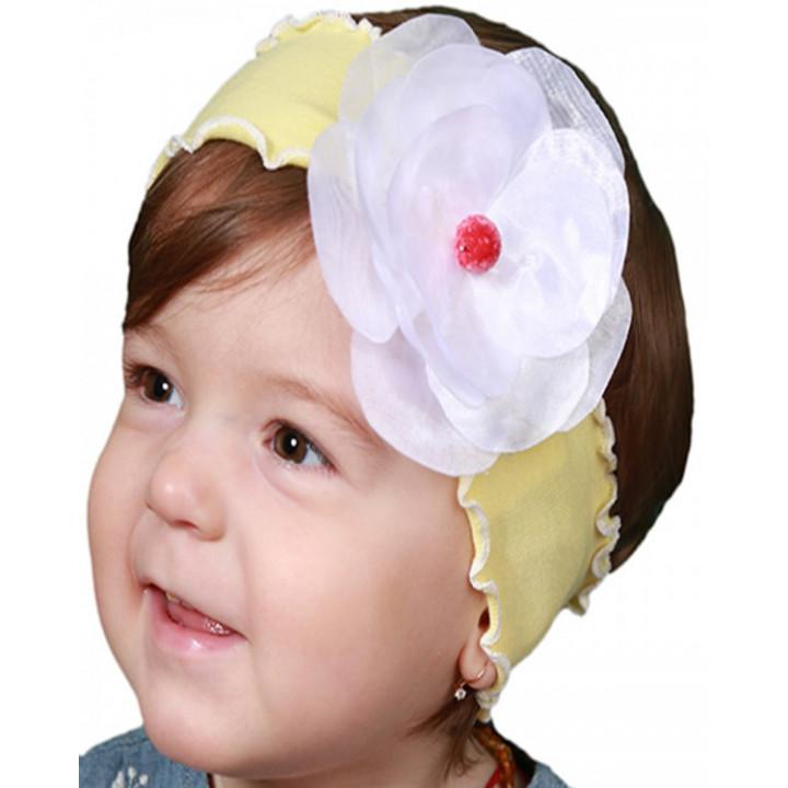 Детская желтая повязка с цветочком  42-44 см обхват
