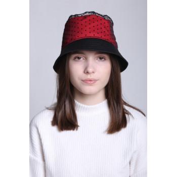 Панама подростковая 54-56 см обхват головы Красно-черная для девочек