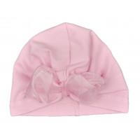 Тонкая шапочка с бантом 48-50 см обхват для девочек