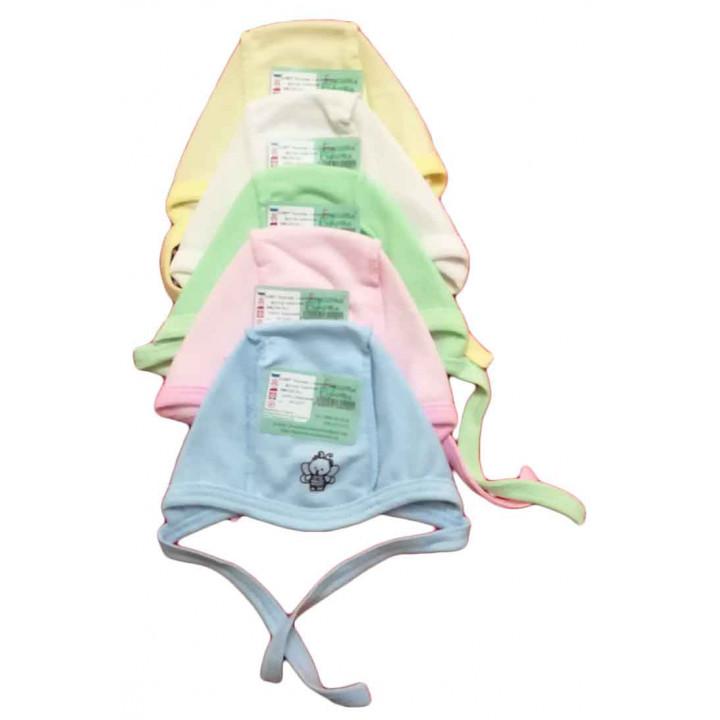 """Теплые (футер) цветные чепчики """"Бабочка"""" для новорожденных"""