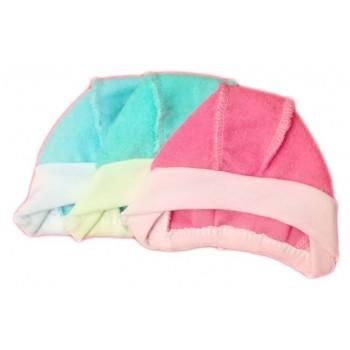 Теплые (махра) цветные шапочки на завязках. Размеры 56 62 68
