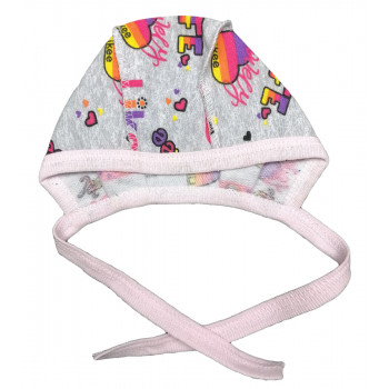 Теплый (ткань начес) чепчик для новорожденных девочек в роддом Лайки