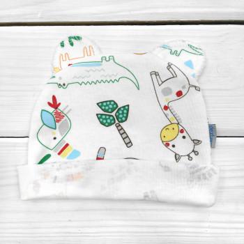 Шапочка 62 размера Интерлок с ушками для новорожденных