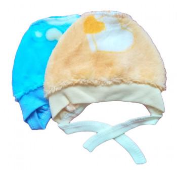 Зимние шапочки для новорожденных. Размер 62 68 Материал: велсофт